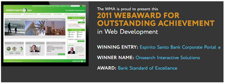 Onsearch Interactive Solutions wins 2011 WebAward for Espirito Santo Bank Corporate Portal