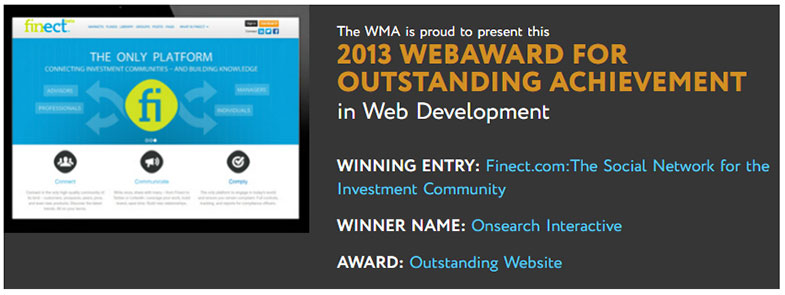 Onsearch Interactive wins 2013 WebAward for Finect.com:The Social Network for the Investment Community